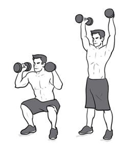 Squat to dumbbell overhead press